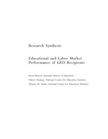 Educational and Labor Market Performance of GED Recipients