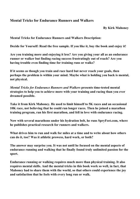So Have You Actually Read Walkers >> Mental Tricks For Endurance Runners And Walkers Pdf Ebooks