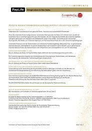 Infoblatt zur PayLife Reisestornoversicherung (pdf) - Kreditkarte.at