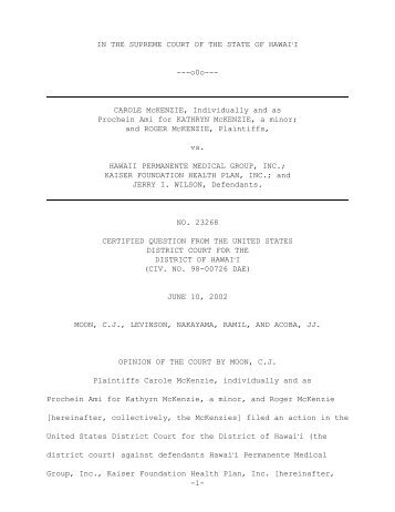 -1- IN THE SUPREME COURT OF THE STATE OF HAWAI#I ---o0o ...