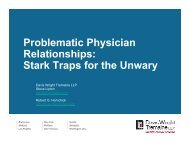 Problematic Physician Relationships - Davis Wright Tremaine