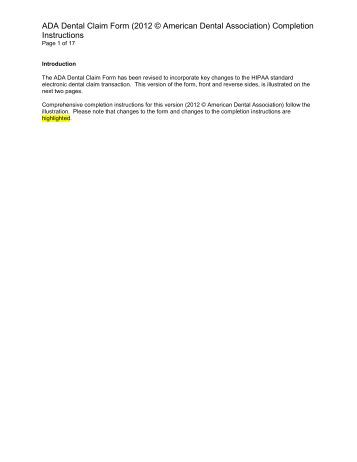 2012 ada insurance claim form