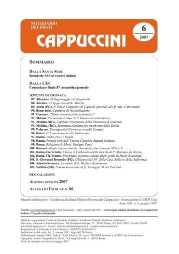 N. 6 - Notiziario dei Frati Cappuccini (giugno 2007)