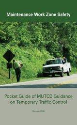 Maintenance Work Zone Safety Pocket Guide of MUTCD Guidance ...