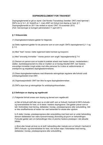 DOPINGREGLEMENT FOR TRAVHEST - Det Norske Travselskap