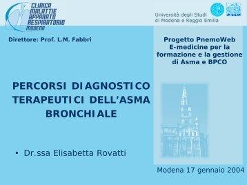 PERCORSI DIAGNOSTICO TERAPEUTICI DELL'ASMA BRONCHIALE