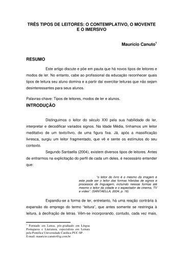 TRÊS TIPOS DE LEITORES: O CONTEMPLATIVO, O MOVENTE ...