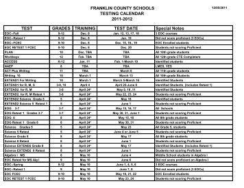 FRANKLIN COUNTY SCHOOLS TESTING CALENDAR 2011-2012 ...