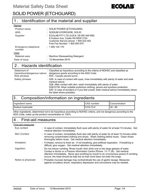 Material Safety Data Sheet SOLID POWER - Perth Cleaning Supplies