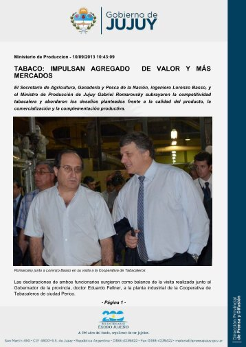 TABACO: IMPULSAN AGREGADO DE VALOR Y MÁS MERCADOS