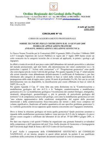 Circolare n. 61 - Geologi Puglia