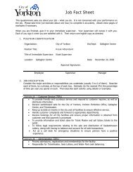 to view the Job Fact Sheet for this position - City of Yorkton
