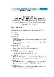 16. MEZINÁRODNÍ SYMPOZIUM INOVACE 2009 ... - AIP ČR