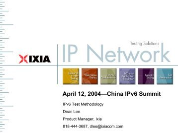 IPv6 Test Methodology for IPv6 Summit