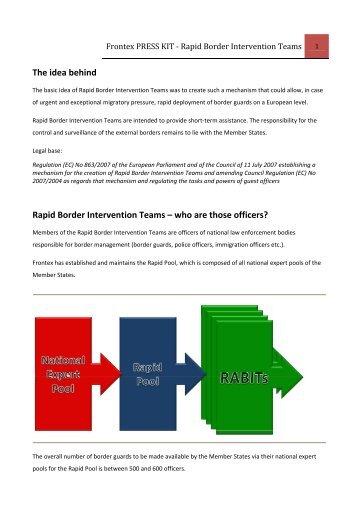 Frontex Press Kit: Rapid Border Intervention Teams - Statewatch