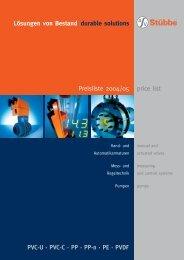 Lösungen von Bestand durable solutions Preisliste 2004/05 PVC-U ...