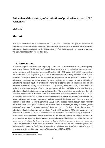 Estimation of the elasticity of substitution of production factors in ...