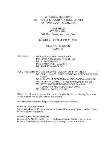 September 28, 2009 School Board Meeting Minutes - York County ...