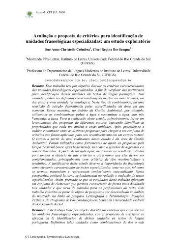 Avaliação e proposta de critérios para identificação de ... - Ufrgs