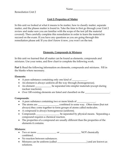 Elements, Compounds & Mixtures Worksheet - Seabreeze High ...