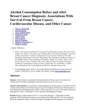 Alcohol Consumption Before and After Breast Cancer Diagnosis ...