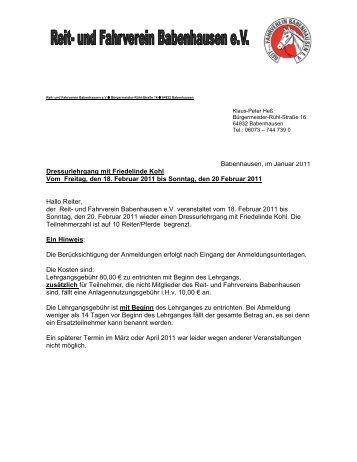 Dressurlehrgang in Babenhausen mit F. Kohl 18.-20 ... - Krb-da-di.de