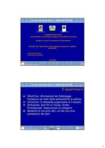 """Questionario """"esigenze formative in edilizia sostenibile"""""""