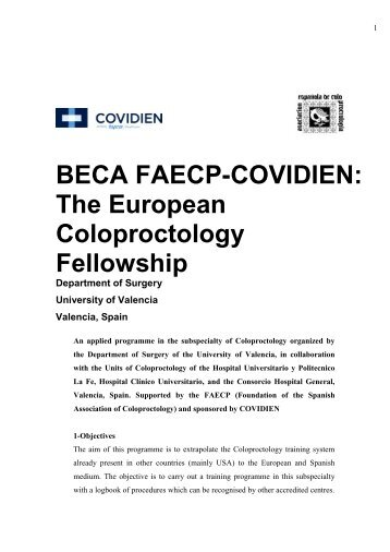 BECA FAECP-COVIDIEN: The European Coloproctology Fellowship