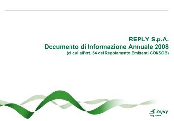 Documento di Informazione Annuale 2008 - Reply