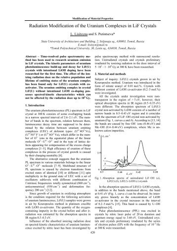 Radiation Modification of the Uranium Complexes in LiF Crystals