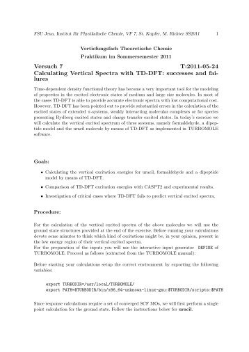 Versuch 7 T:2011-05-24 Calculating Vertical Spectra with TD-DFT ...