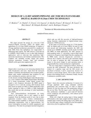 DESIGN OF A 12-BIT 44MSPS PIPELINE ADC FOR ... - Iberchip.net