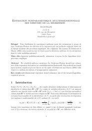 Estimation nonparamétrique multidimensionnelle des dérivées de la ...