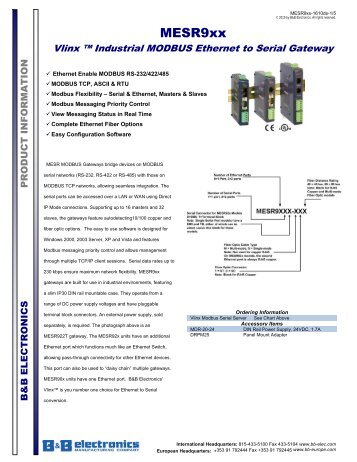 MESR9xx - Datasheet - Vlinx Industrial Modbus Ethernet to Serial ...