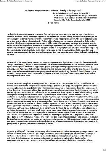 Teologia do Antigo Testamento - Gunneweg - Haroldo Reimer