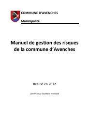 Manuel de gestion des risques de la commune d'Avenches