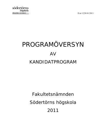 PROGRAMÖVERSYN - Södertörns högskola