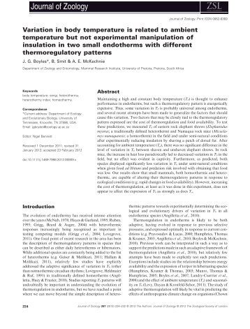 Variation in body temperature is related to ambient temperature but ...