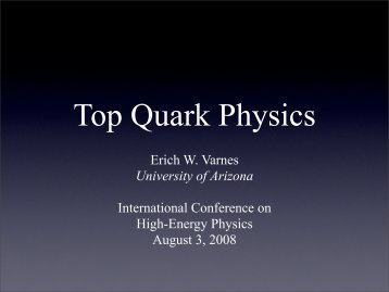 Top Quark Physics - University of Arizona