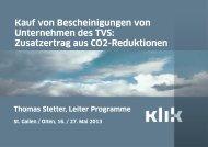 Referat KLIK (Stiftung Klimaschutz und CO 2 -Kompensation