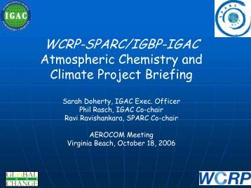 Atmospheric Chemistry and Climate Project Briefing ... - AeroCom