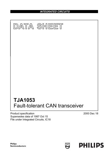 TJA1053 Fault-tolerant CAN transceiver