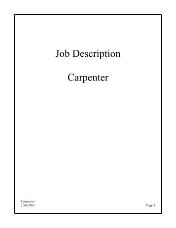 Carpenter Job Description - Canelovssmithlive.Co