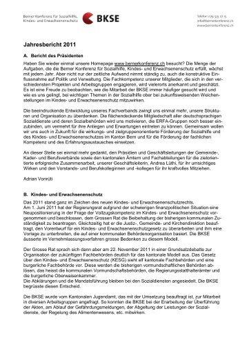 Jahresbericht 2011 - Berner Konferenz für Sozialhilfe und ...