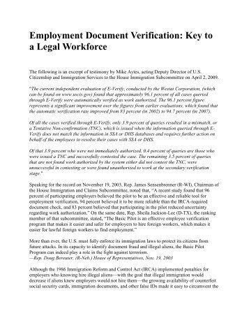Employment Document Verification - Federation for American ...