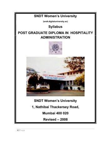 SNDT Women's University Syllabus POST GRADUATE DIPLOMA IN ...