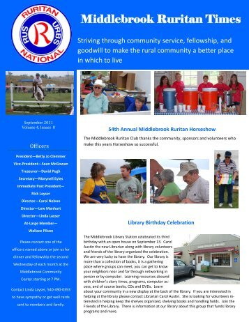 Ruritan Times September 2011 - Middlebrook Virginia Community ...