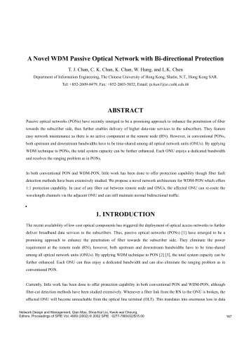A Novel WDM Passive Optical Network with Bi-directional Protection ...