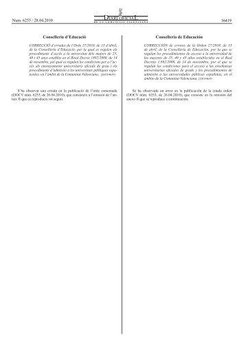 Corrección de Errores de La Orden 27 de la Conselleria De ...