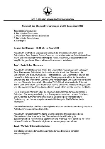Protokoll der Elternvollversammlung am 26. September 2009 ...